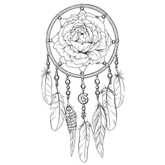Hand drawn ornate Dreamcatcher with rose bud in contour.  illustration.