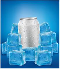 White Aluminum Tin Cans in ice cubes with many water drops