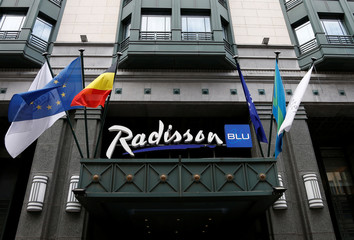 The logo of Radisson Blu hotel group is pictured over its main entrance in central Brussels