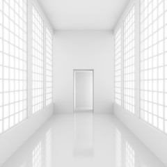 Futuristic empty white corridor with bright lights from windows and door. 3D Rendering.