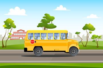 School bus on the way of school
