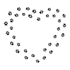 Heart shape frame with black dog track isolated on white background. Animal footprint silhouette. Border with pet track. Vector illustration.