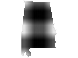 Map of Alabama state print. White background, black dots. Vector illustration.