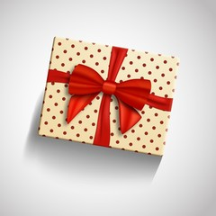 Illustration of Vector Realistic Gift Box with Red Ribbon Isolated. Greeting Card Template