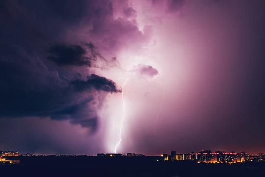 Lightning hits the house, Lightning storm over Voronezh city