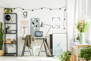 Cozy office room in scandi style