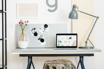 Modern desk with lamp