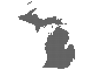 Map of Michigan state print. White background, black dots. Vector illustration.