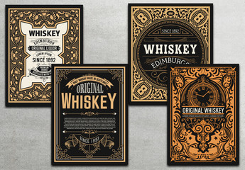 4 Vintage Whiskey Label Cards