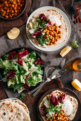 Tacos with salad and roasted chickpeas