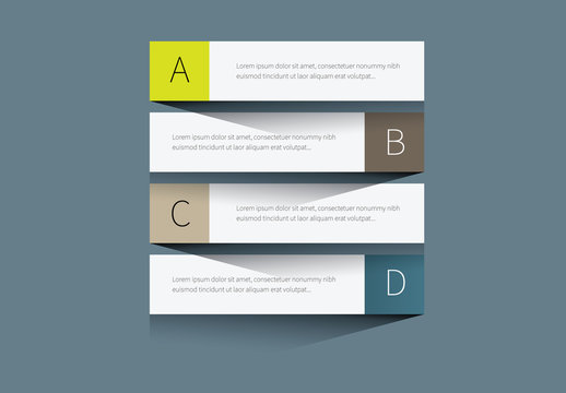 Four Section Lettered Tab Infographic Layout