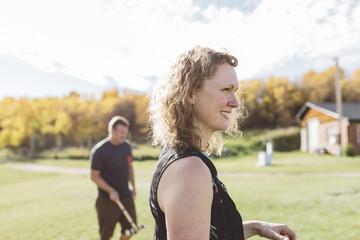 Outdoor portrait of happy woman