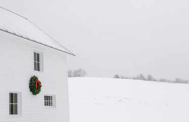 Wreath on Barn in Vermont, USA