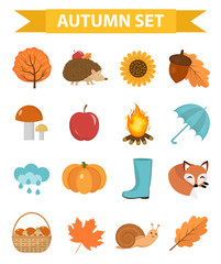 Autumn icons set flat or cartoon style.Collection design elements  with yellow leaves, trees, mushrooms, pumpkin, wild animals, umbrella and boots. Isolated on white background. Vector illustration
