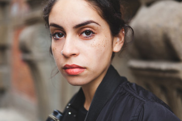 Closeup Portrait of a Beautiful Mixed Race Girl