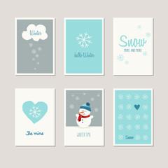 set of decorative winter cards