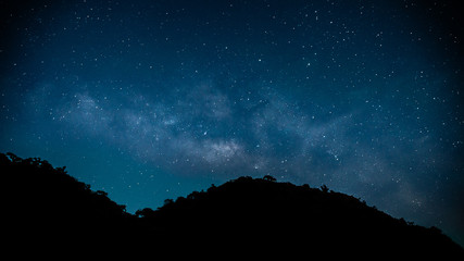 Milky way with silhouette mountain