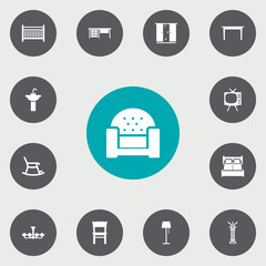 Set Of 13 Set Icons Set.Collection Of Cot, Sofa, Desk And Other Elements.