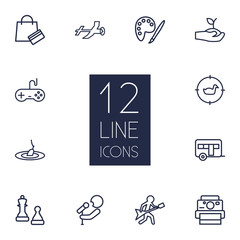 Set Of 12 Lifestyle Outline Icons Set.Collection Of Aeromodeling, Guitar, Fishing And Other Elements.