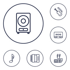 Set Of 6 Music Outline Icons Set.Collection Of Fiddle, Record, Harmonica And Other Elements.