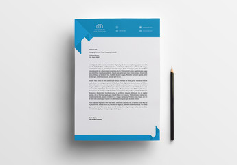 Business Letterhead Layout with Blue Accents 1