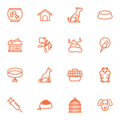 Set Of 16 Animals Outline Icons Set.Collection Of Grooming, Carries, Dog And Other Elements.