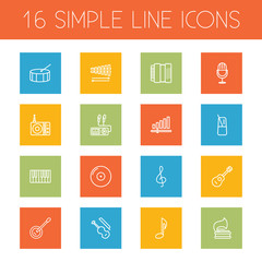 Set Of 16 Song Outline Icons Set.Collection Of Percussion, Fortepiano, Audio Level And Other Elements.