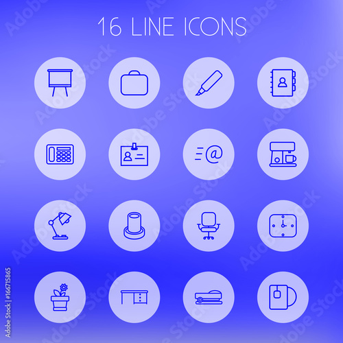 Set Of 16 Bureau Outline Icons SetCollection Of Board Stand