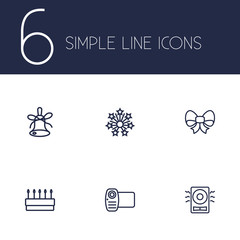 Set Of 6 Cheerful Outline Icons Set.Collection Of Video, Bow, Amplifier And Other Elements.