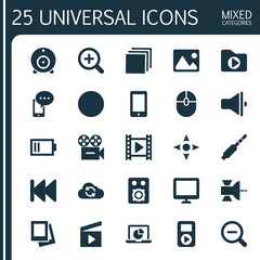 Music Icons Set. Collection Of Player, Cloud, Screen And Other Elements. Also Includes Symbols Such As Laptop, Camera, Controller.