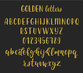 Gold glitter handwritten latin calligraphy brush script with numbers and symbols. Vector