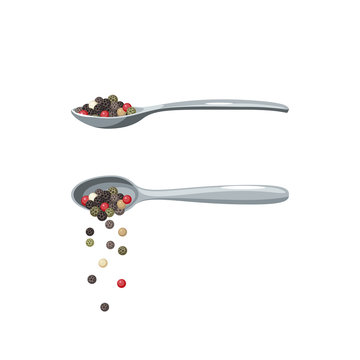 Cartoon metal spoon pouring peppercorns. Spoon with pepper isolated on white. Vector illustration, flat icon.