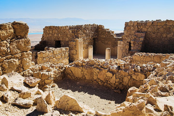Ruins of the grand residence or the commandant's residence of Masada Fortress, Israel