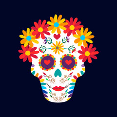 Day of the dead mexico sugar skull decoration art