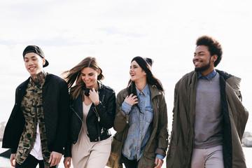 Portrait of group of friends having fun outside.