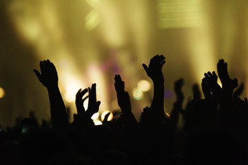 Hands in the air waving and clapping at a colourful concert