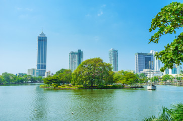 The small island on Beira lake in Colombo
