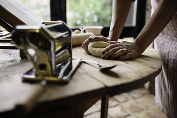 Making fresh pasta in a rural home.