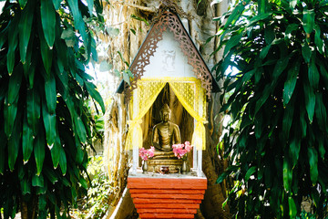Buddhist shrine in local thai village
