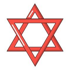 Star of david judaism icon, cartoon style
