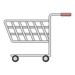 Shopping cart with wheels icon, cartoon style