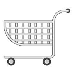 Small shopping cart icon, cartoon style