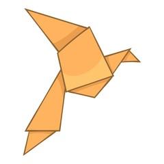Origami bird icon, cartoon style