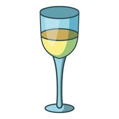 Glass of white wine icon, cartoon style