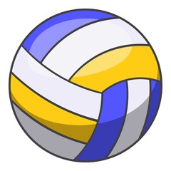 Volleyball ball icon, cartoon style