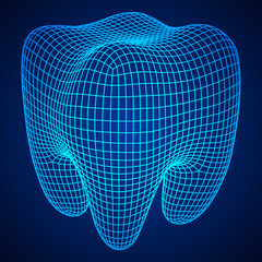 Tooth Wireframe Mesh. Connection Structure Vector Illustration. Dental medicine, health concept.