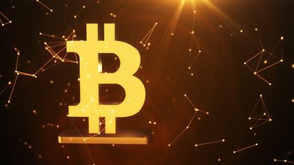 Golden symbol of bitcoin, new virtual money on various digital background, 3D illustration