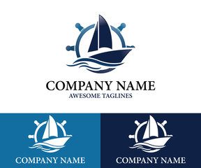 Sailboat Logo Design Template Flat Style Design. Vector Illustration