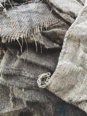 Close up of worn burlap bags