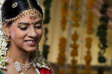 Beautiful young bride smiling